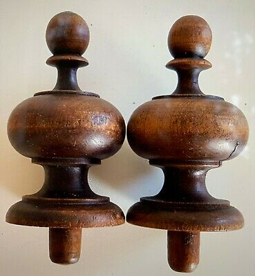 Antique French wood newel post finial end Set of 2 Newel post Bed newel Repurpos