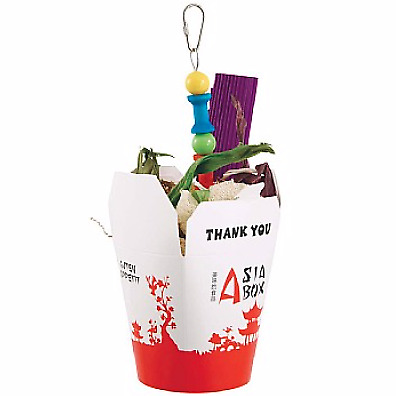 Chinese Take Away Chewable Foraging Parrot Toy - Bird Safe Chewable Takeaway