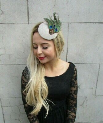 Small Beige Oatmeal Tweed Peacock Pheasant Feather Pillbox Hat Hair Clip 7112