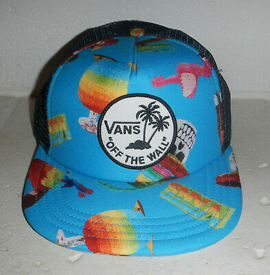 bfd407a6540 Vans Shoes Off the Wall Logo Mesh Snapback Trucker Hat Cap Flamingo  Cocktails