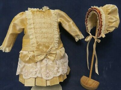 "French Style Silk Dress & Hat To Fit 16""/17"" Antique/reproduction Doll"