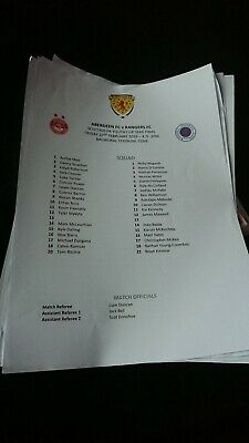 2019 Scottish Youth Cup Semi Final Aberdeen V Rangers Teamsheet