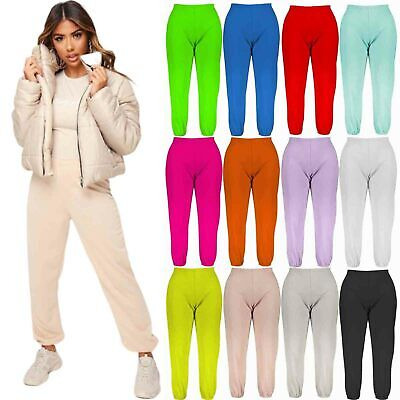 Womens Cuffed Joggers Trousers Ladies Tracksuit Bottoms Jogging Gym Active Pants