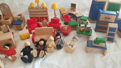 Dolls House Furniture Wooden over 40 pieces plus Figures Quality Wood