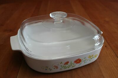 Vintage Corning Ware Wildflower A-10-B Casserole with Pyrex A-12-C Glass Lid GUC