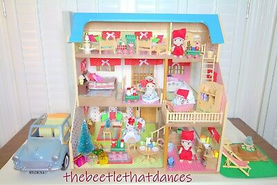 Sylvanian Families Manor House on The Hill,Loaded,Furniture,Rabbits,Decorated+++