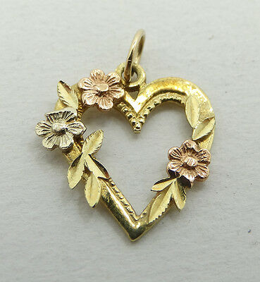 Pretty 14K Yellow & Rose Gold Floral Open Heart Charm Pendant A5057