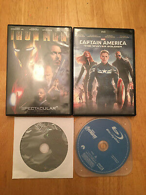 DVD Captain America: The Winter Soldier/Iron Man 1 & 2/Marvel's Avengers Blu-ray