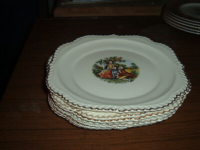 Lot of 6 Harker Colonial couple square salad plates 22kt gold edge