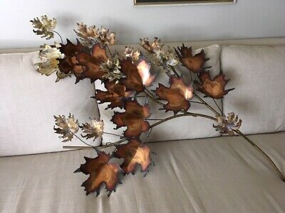 Vintage signed C. Jere' Copper/Brass Large Wall Sculpture Maple Leaves/Torch Cut