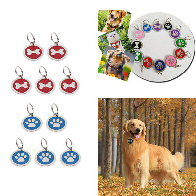 Personalized Engraved Bone Paw Print Tag Dog Cat Pet ID Tags Reflective
