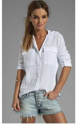 9668eba2aa1 Women's Enza Costa Izar Fitted Linen Button Down Top Sz S ~Sold Out~ New