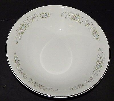 "Carlton Corsage 481 Silver Rim White Serving Bowl 9.5"" Floral Pattern Fine China"