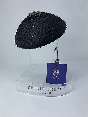 d8f71c3c86226 NWT Philip Treacy Black  Beret  Fascinator Embellished W  Grey   Black  Swarovski