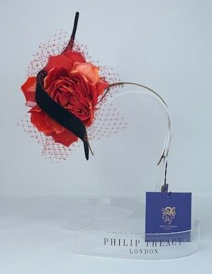 ee61b55ffe4b7 NWT Philip Treacy Side Red Flower w  Black Velour Swirl on Fascinator