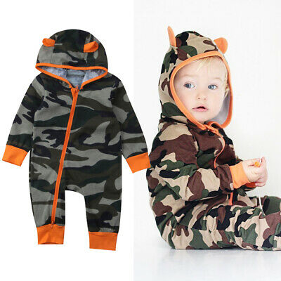 Newborn Baby Boy Girl Camouflage Hooded Romper Jumpsuit Playsuit Clothes Outfits