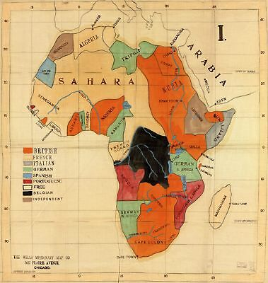 A4 Reprint Of Old Map Of Africa 1 5 95 Picclick Uk