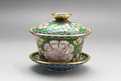 Exquisite Chinese Old Cloisonne Handmade Painting Lotus Cup Statue