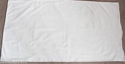Vintage large extra long white bolster/pillow case with white embroidery.