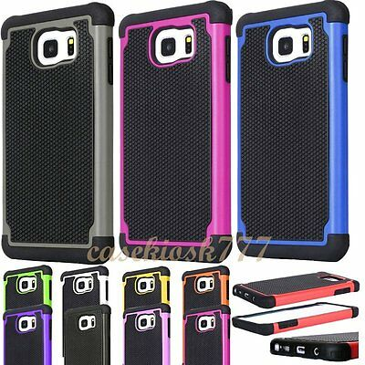 for samsung galaxy S6 case rugged hybrid 3 layer s 6 black hot pink red green//
