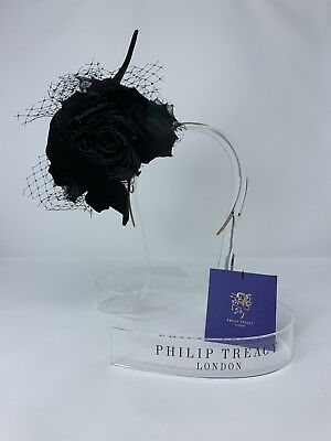 7957c7d2793 PHILIP TREACY HAT Black w white rose and feather detail (never worn ...