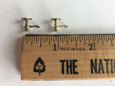 Dollhouse Miniature Faucets (2) for Kitchen or Bathroom Sinks, 1:10-1:12 Scale