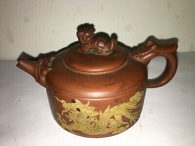 Old Chinese Yixing Zisha Pottery Carving Dragon Phoenix Statue Teapot tea maker