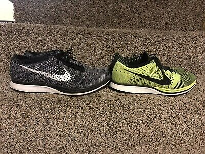new style adb5b 90a86 2 Pair Nike Flyknit Racer Oreo And Volt Men s 13 No Boxes HTM Multicolor
