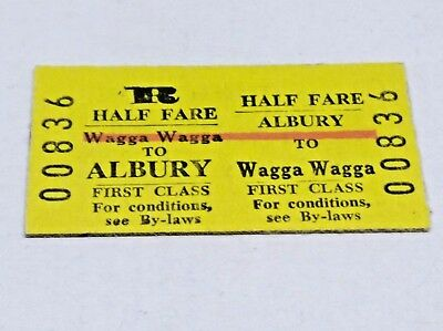 Nsw Railways Train Ticket Wagga Wagga To Albury 1St Class