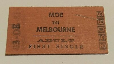 Victorian Railways Train Ticket Moe To Melbourne 1St Single