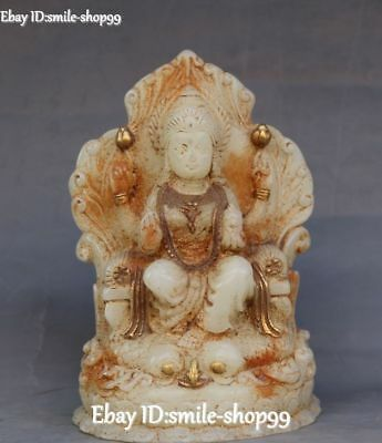 Natural Old Jade Gilt Carving 4 Arms Kwan-yin Guanyin Quan Yin Goddess Sculpture