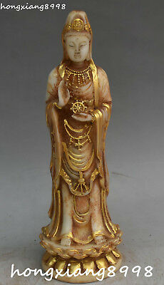 "10"" Unique China Old Jade Gilt Stand Lotus Kwan-yin Guan Quan Yin Goddess Statue"