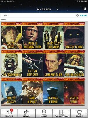 Topps Star Wars Digital Card Trader Complete Vintage S1 Set With All The Awards