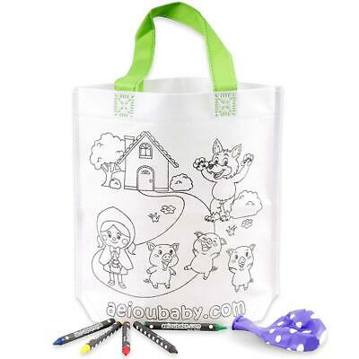 25 Tote Bags Color Your Own | 25 Individual with 5 Coloured Crayons and a...