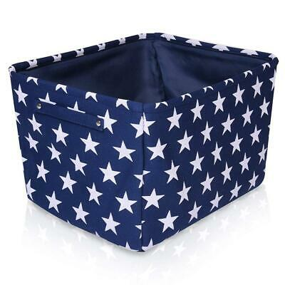 Blue Star Canvas Storage Basket - High Quality Rectangle Fabric with White...
