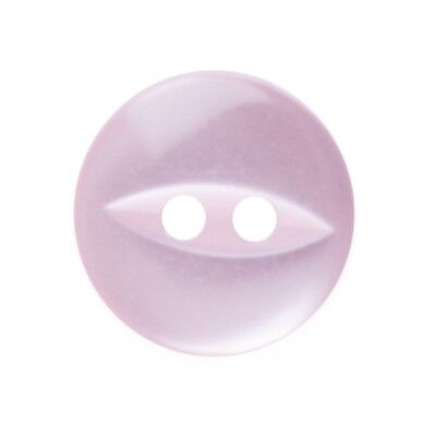 Round Fish Eye Button 2 Hole - Pink - 11mm / 18L