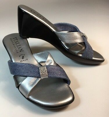 623284720553 ... women s italian shoemakers silver sandals shoes sz 8m wedge heels ...