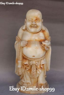 Unique Natural Old Jade Carved Happy Laugh Maitreya Buddha Yuanbao Beads Statue
