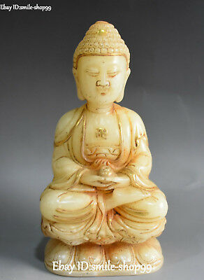 Unique Old Jade Gilt Carved Stand Quan Guan Yin Goddess Kwan-yin Flower Statue