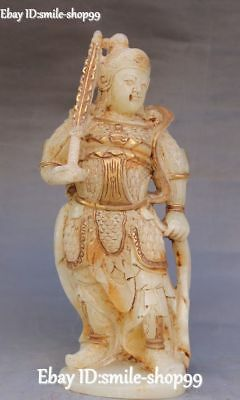 Unique Natural Old Jade Gilt Warrior God Wei Tuo Veda Skanda Bodhisattva Statue