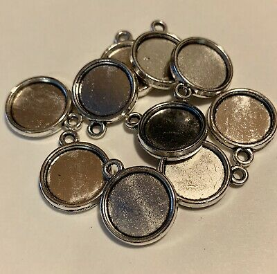 10 Double Sided 12mm Round Cabochon Antique Silver Pendant Setting US Seller