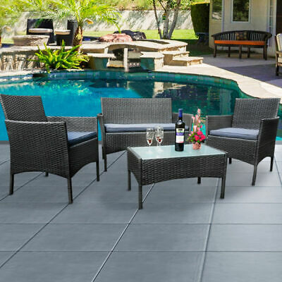 4 Pieces Rattan Garden Furniture Set Table Chair Sofa Patio Outdoor Conservatory