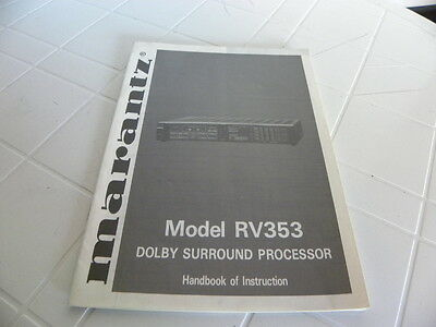 Marantz RV 353  Manuale d'uso   Owner's Manual  Operating Instructions