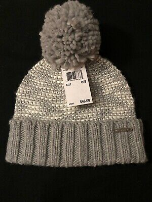 001b0b1a227 Michael Kors Cable Knit Pompom Beanie Hat Winter Cap Heather Gray New