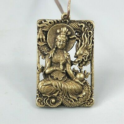 EXQUISITE Rare Collectible Old Brass Handwork Kwan-Yin Dragon Pendant Statue