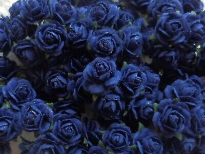 100! Cute Handmade Mulberry Paper Roses - 10mm - Navy Blue Rose Embellishments!