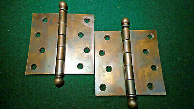 PAIR BEAUTIFUL  JAPANNED 4 1/2  x  4 1/2 CANNON BALL HINGES - (9225)