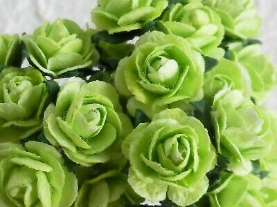 100! Cute Handmade Mulberry Paper Roses - 10mm - Green Rose Embellishments!