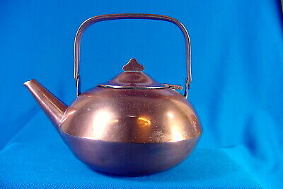 Early 20Th C. Arts & Crafts Kettle ~ Teapot Copper ~ High Design ~ Tin Lining