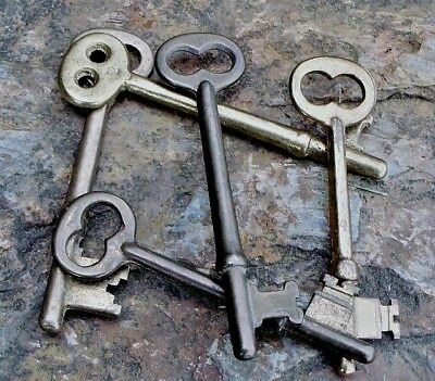 Five Vintage  Mortise Lock Skeleton Keys  Antique Door Keys Bronze & Brass
